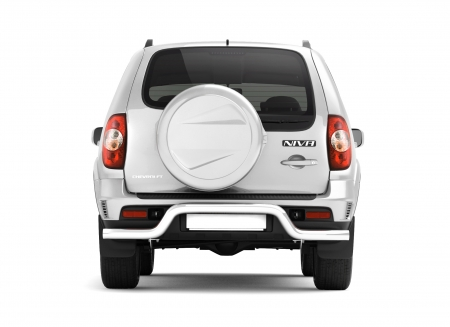 Защита заднего бампера под фаркоп d63мм Chevrolet Niva FL (нерж)